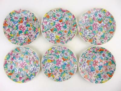 6 Smaller Antique Chinese Famille Rose Mille-fleurs Plates, Qianlong Mark