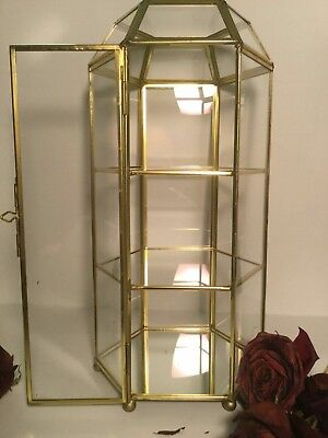 Vintage Glass and Brass Display Box Hexagon Shaped