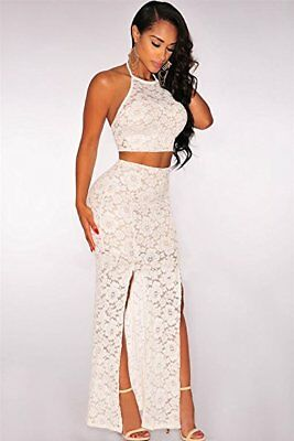 Sexy White Lace Illusion Maxi Skirt Set (Size Med)