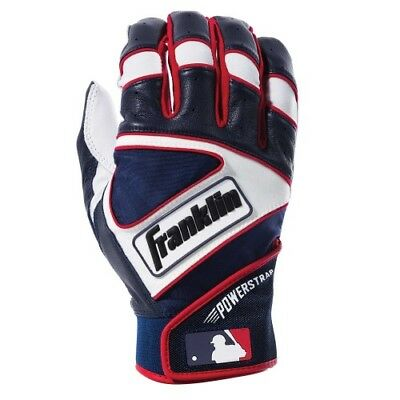 Franklin Powerstrap Batting Gloves - Pearl/Navy/Red - M