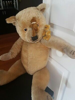 """Gorgeous Antique Vintage Chiltern Bear- Blonde - fully jointed 26"""" - 1930"""