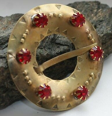 Antique Vintage Ethnic Brooch Pin Sakta Fibula With Red Stones
