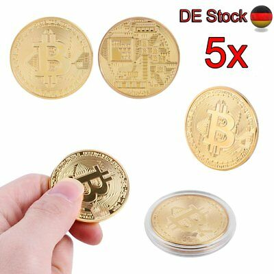 5 x Gold Plated Bitcoin Coin Münze Mining Miner Medaille Sammelmünze Collectible