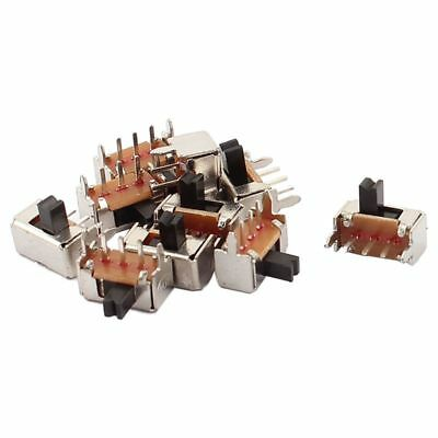 10 Pcs ON/OFF 2 Position 3 Poles SPDT Right Angle Panel PCB Slide Switch A5Q4