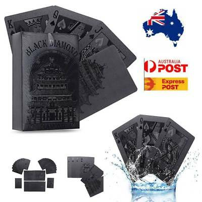 54pcs Black Plastic Coated Playing Deck Frosting Diamond Waterproof Poker Cards