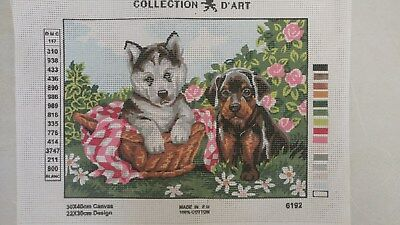 Puppies - Collection D'Art Tapestry Canvas 6192