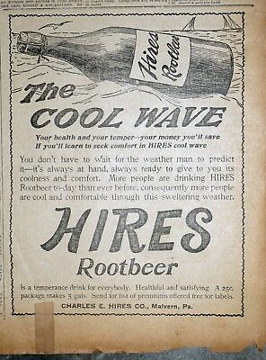 Rare Early Hires Root Beer Ad - 1900 San Francisco Newspaper Page
