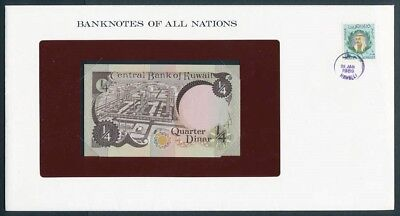Kuwait: 1980 1/4 Dinar Banknote & Stamp Cover, Banknotes Of All Nations Series