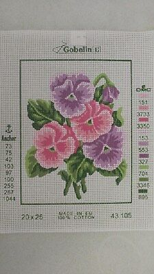 Pink & Lilac Pansies - Gobelin Tapestry Canvas 43.105
