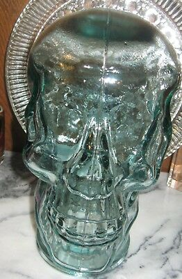 Green Glass Skull Head Hat  Display Wig Mannequin Halloween