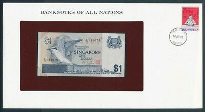 Singapore: 1976 $1 Banknote & Stamp Cover, Banknotes Of All Nations Series