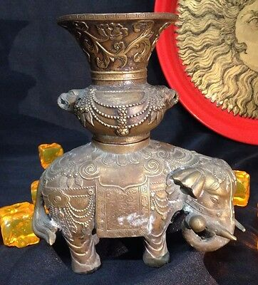 Antique Early 19 Century Chinese Brass Bronze Elephant Burner Censer Marked