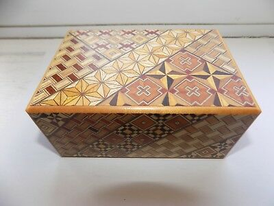 Very Nice Vintage Japanese Yosegi Inlaid Marquetry Wooden Puzzle Box Gwo