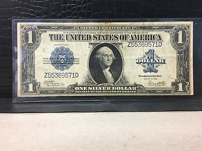 ~* 1923 One Dollar Silver Certificate Large Blue Seal Note, (Z55369571D) ~*