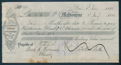 Australia: 1888 Time Note for £14/13/6d National Bank of Tasmania, Stanley