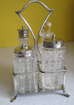 Lovely Vintage Silver Plated And Glass Cruet Set With Stand HF & Co Tableware