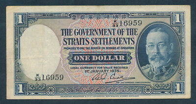 Straits Settlements: 1-1-1935 $1 George V Portrait. Pick 16b Very Fine & Scarce