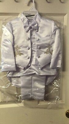 Baby Boy White Suit/Tuxedo Party/Baptism/Wedding 5 piece Outfit/ Gold cross