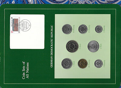 Coin sets of all nations East Germany w/card 1979-1981 UNC 5 Mark 1981 KM#29 30K