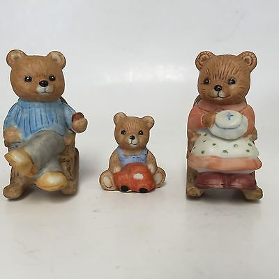 HOMCO Porcelain Three Bears #1470 Rocking Mama Papa Baby1980's Original Sticker