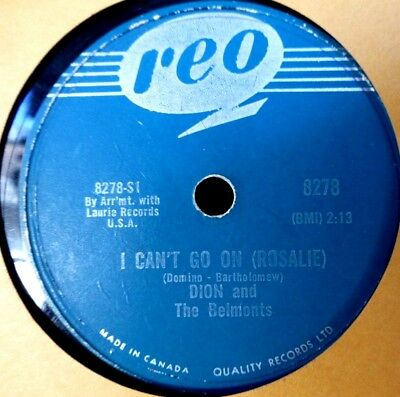 Schellack 78rpm Dion and Belmonts I Can't Go on Rosalie Reo 8278No One Knows Ex-