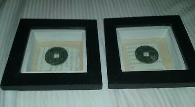 Two framed chinsische Coins,