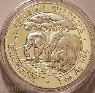 2013 SOMALI WILDLIFE AFRICAN ELEPHANT FAMILY 1 oz SILVER *BU* ~Minted in Germany