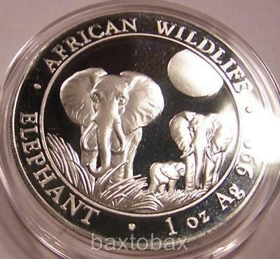 2014 SOMALI WILDLIFE AFRICAN ELEPHANTS 1 oz SILVER *BU* ~Minted in Germany