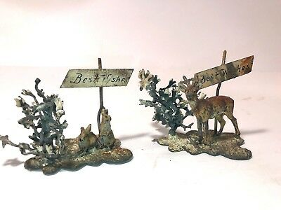 Vintage Lot of two Small Sculptures Britain (?) Deer & Rabbits