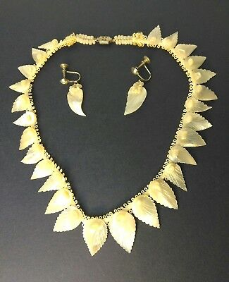 Arts & Crafts Movement Carved Pearl Necklace Screw Back Earrings Jewelry ANTIQUE