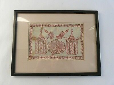 Antique 19th century Regency exceptional embroidery/sampler of parrots & cages