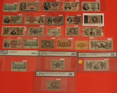 "RARE Civil War Era FRACTIONAL CURRENCY ""Type Set"" 24 Different Fractional Issues"