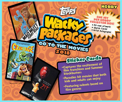Topps WACKY PACKAGES 2018 GO TO THE MOVIES HOBBY COLLECTOR'S BOX 24 packs SEALED