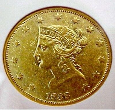 1838 LIBERTY $10 PCGS Genuine AU Details.  Rare, only 80- 100 known, 7200 minted