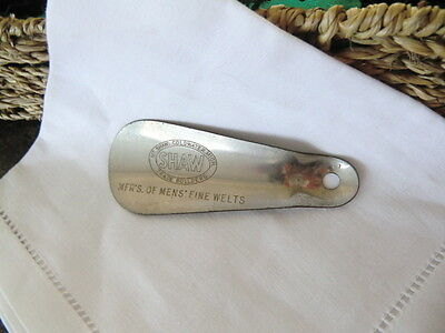 Vintage Metal Shoe Horn Shaw Trade Builders Coldwater, Mi. Mfr's Mens Fine Welts