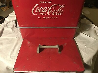 Vintage 1950's Coca Cola Cooler with Tray, Bottle Opener and Drain Plug