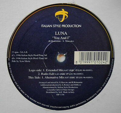 "★★12"" It**luna - You And I (Italian Style Production '96)★★19595"