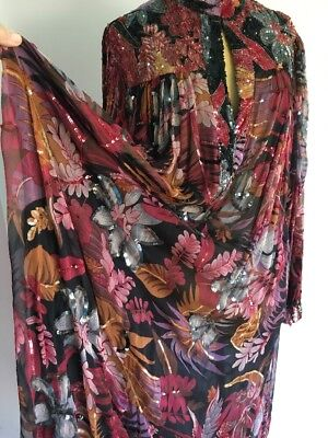 STUNNING Silk Beaded And Sequined Boho Chic Vintage Silk Dress