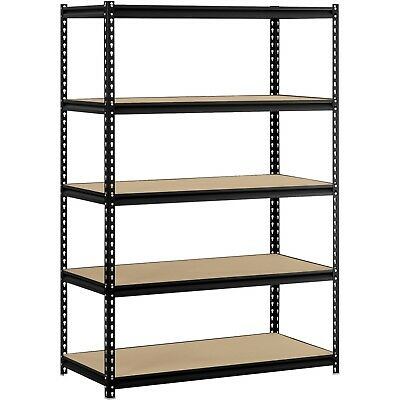 "Muscle Rack 48""W x 24""D x 72""H 5-Shelf Steel Shelving, Black Sturdy Heavy Duty"