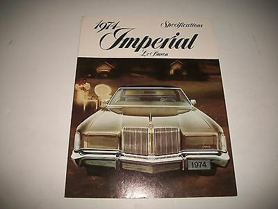 1974 CHRYSLER  IMPERIAL LeBARON CDN ISSUE SPECIFICATIONS & OPTIONS BROCHURE