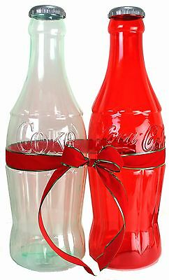 2 Coca Cola COKE Bottle Banks 1 RED 1 CLEAR HUGE Bottles $2.99 Ship Great Gifts