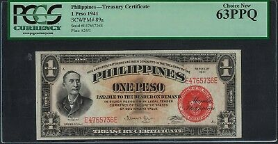 1941 Philippines 1 Peso Red Treasury Certificate PCGS Choice New 63 (SCWPM# 89a)