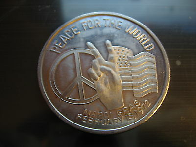 peace sign flag hippie 1971 Mardi Gras Doubloon Coin new orleans