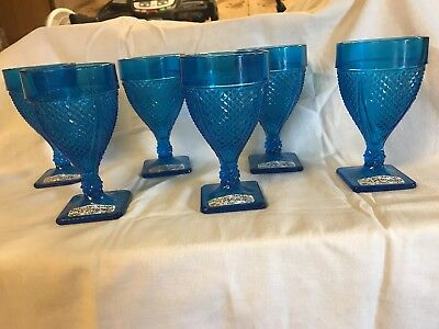 6 Smith Glass Early American Colonial Blue Goblets