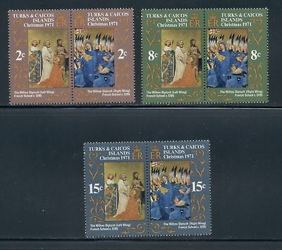 Turks & Caicos Islands Scott #240-245 MNH PAIRS CHRISTMAS 1971 ART $$