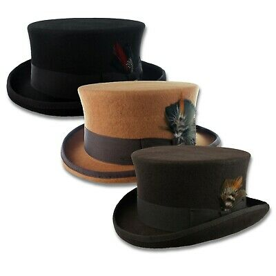 c059abab73a Wool Felt Coachman Top Hat Steampunk Tophat Topper Tuxedo Victorian S-XXL  Black