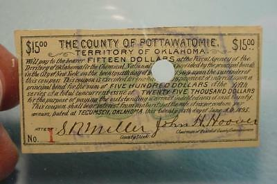 Pottawatomie County Oklahoma Territory Fiscal Paper $12.00 Coupon #rmb-127