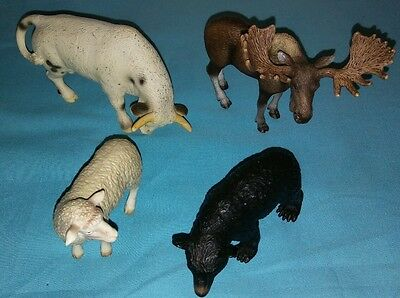 Schleich Rodeo Bull,Black Bear,Moose Bull,Sheep Animals
