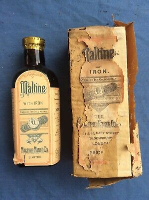 Antique Apothecary Maltine With Iron Bottle With Box.