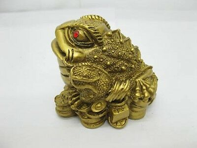 4X Brass Plated Feng Shui Money Frog On Treasure 6x7x5.5cm